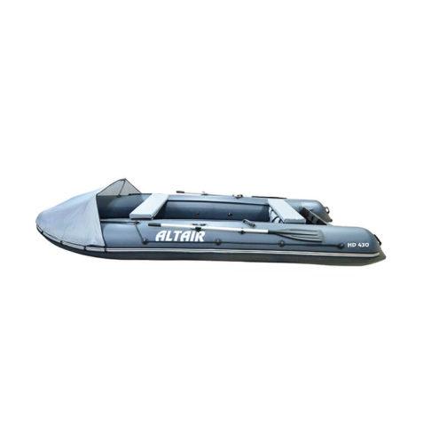 Лодка ПВХ надувная моторная HD 430 ЛЮКС серая (2)